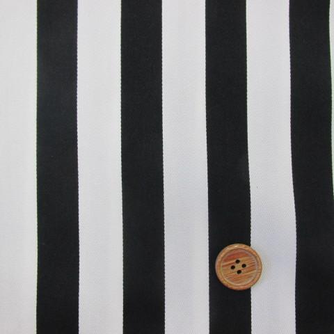 画像1: ツイル生地 マリン調 黒のストライプ