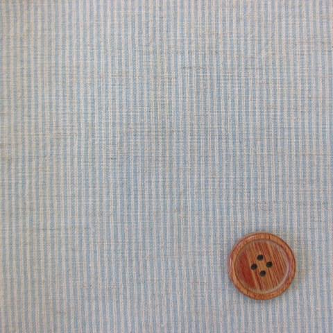 画像1: 綿麻先染めダンガリー ミントブルーのストライプ