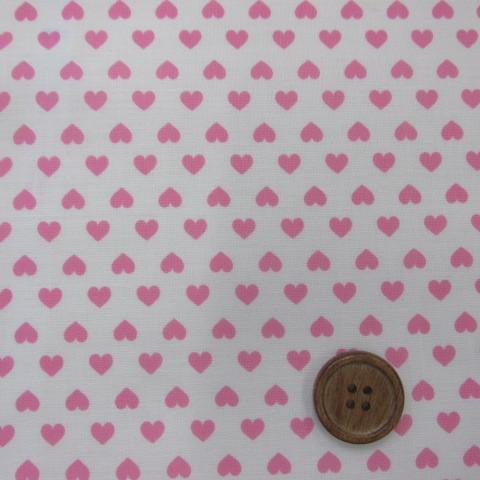 画像1: ▼訳あり 白地にピンクのハート柄 シーチング生地 はぎれ30cm