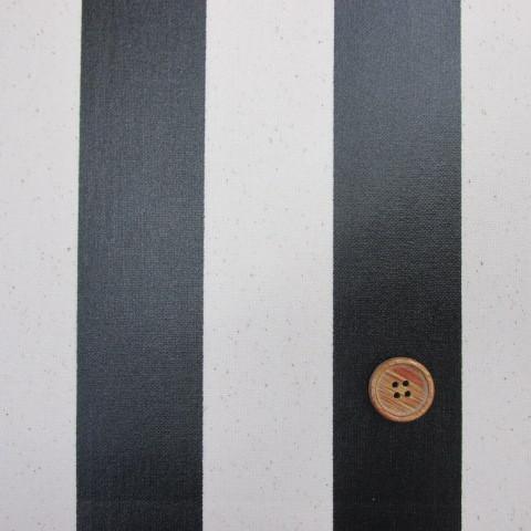 画像1: 11号帆布 110cm巾 ストライプ(約4,2cm巾) (黒) ラミネート↑