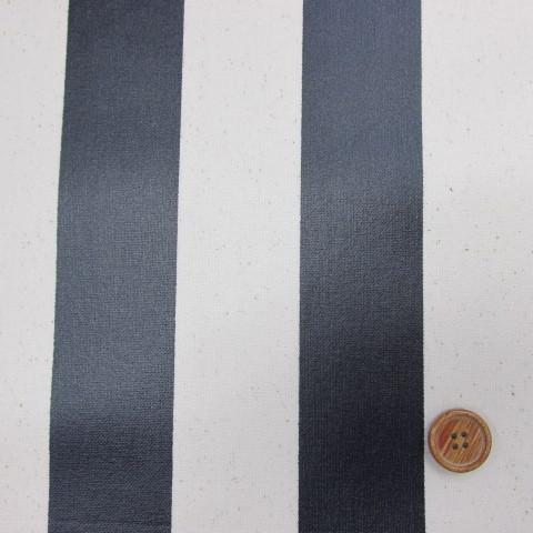 画像1: 11号帆布 110cm巾 ストライプ (紺) ラミネート↑