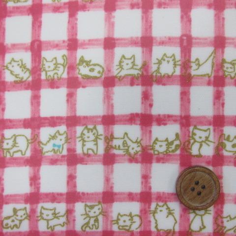 画像1: 格子とラメねこちゃん柄 (ピンク)オックス生地   ラミネート はぎれ90cm↑