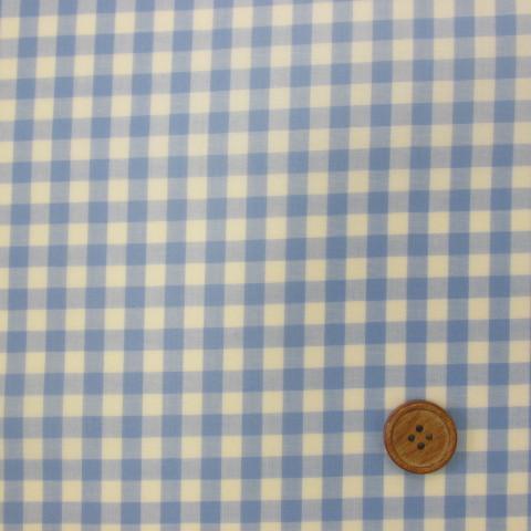 画像1: 定番ギンガムチェック110cm巾   【大】6mm角 (ブルー) ラミネート