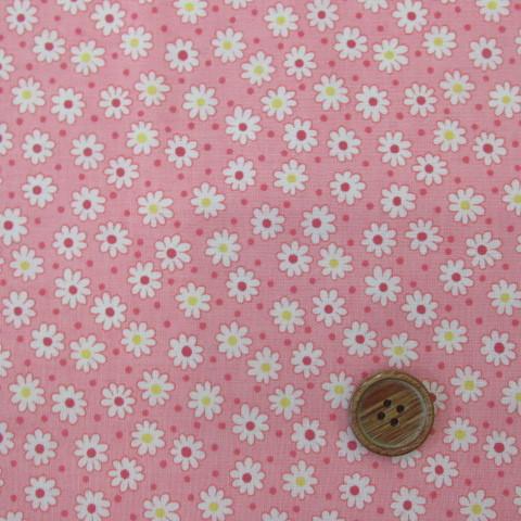 画像1: (3)レトロ'30フラワー  スケア生地(ピンク) 花柄 はぎれ75cm