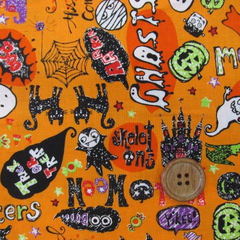 画像1: ハロウィン 黒猫柄 シーチング生地 (オレンジ)