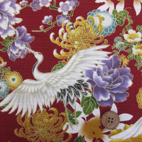 画像1: 和柄 シャンタンプリント 鶴と花柄 (エンジ)