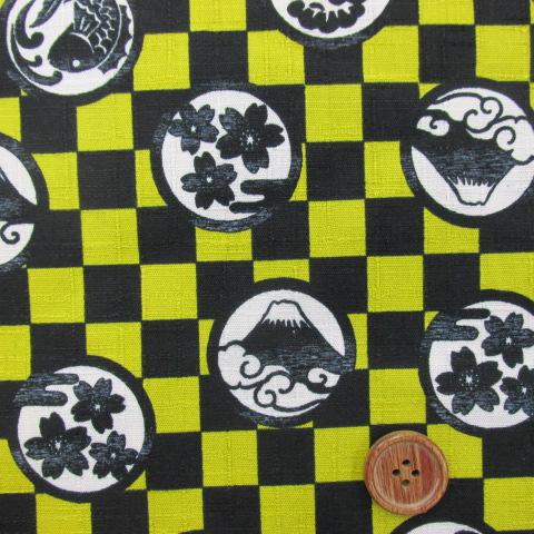 画像1:  和柄  富士山・市松・鯛・桜柄 ドビー生地 (黄色に黒)↑