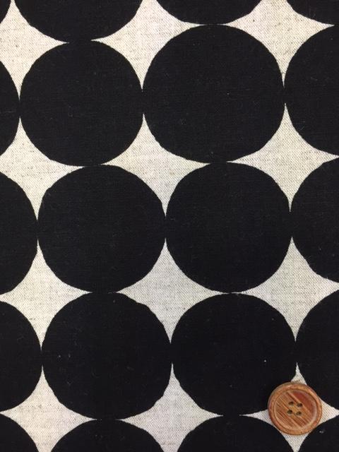 画像1: 綿麻キャンバス 和楽美 ナチュラルペイントドット (ブラック)