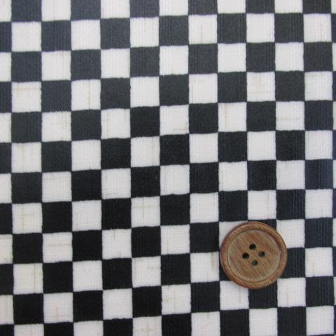画像1: 和柄  約1cm角市松柄 ドビー生地 (黒) ラミネートはぎれ80cm↑