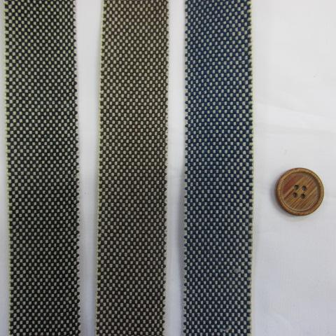 画像1: 和調 市松柄(ブラック) デニムテープ(3cm幅)  3色