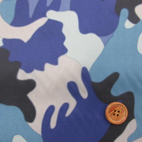 画像1: ♪撥水加工ナイロンオックス生地 迷彩柄 はぎれ60cm(ブルー系)