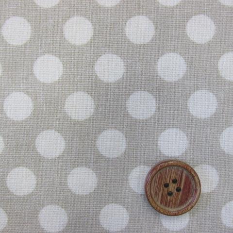 画像1: 綿麻キャンバス ハーフリネン 12mmドット柄 (ベージュ)