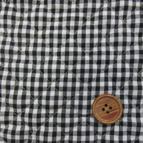 画像1: 定番広幅 ギンガムチェック 【中】3mm角 (黒) キルト はぎれ50cm