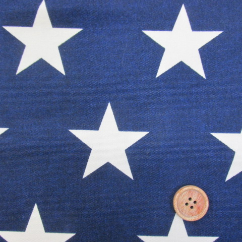 画像1: ☆大スター・星柄 (紺地に生成りの星) オックス生地 はぎれ60cm