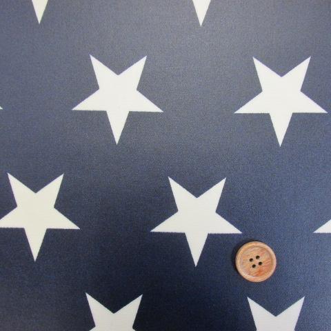 画像1: 大スター・星柄 (紺地に生成りの星) オックス生地  ラミネートはぎれ40cm↑