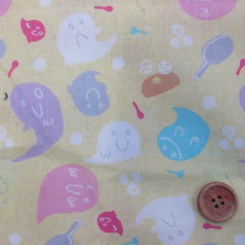 画像1: 2017年 東京ハイジ おばけのホットケーキ柄(黄) 20サイフ生地(シーチング程度)