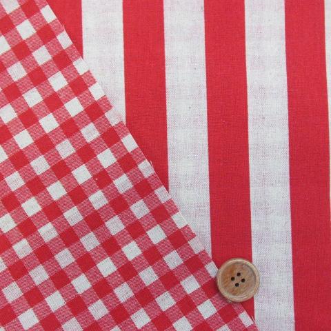 画像1: 綿麻キャンバス ストライプ・チェック リバーシブル柄 (赤)