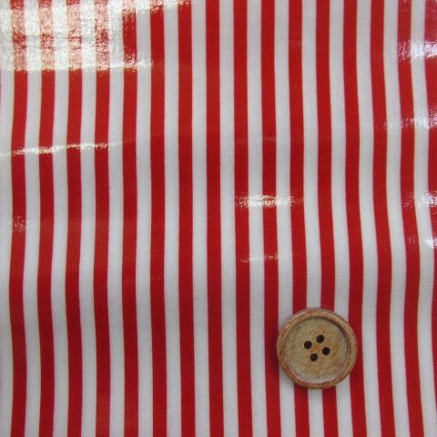 画像1: ▼定番 ストライプ【中】柄 ブロード生地(赤)ラミネート つや有り◆訳ありはぎれ50cm