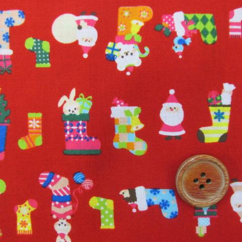 画像1: クリスマス 靴下とサンタさん柄 (赤) シーチング生地