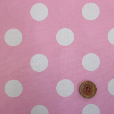 画像1: 定番ブロード 22mmドット柄(ピンク)