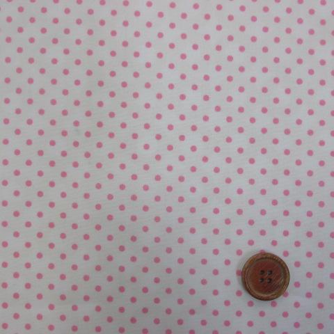 画像1: 定番ブロード 3mmドット柄(白地にピンクのドット)