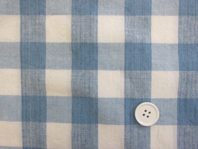 画像1: (3)【お買い得】 綿麻先染めスペックワッシャ―生地 2,3cm角ブロックチェック はぎれ1m40cm(ブルー)
