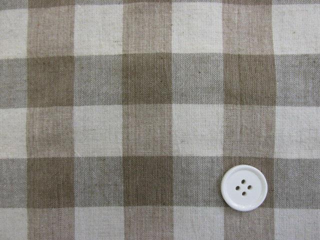 画像1: 【お買い得】 綿麻先染めスペックワッシャ―生地 2,3cm角ブロックチェック (ベージュ)