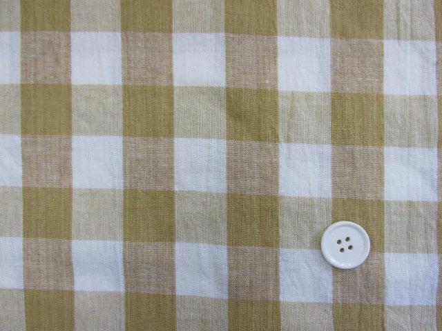 画像1: 【お買い得】 綿麻先染めスペックワッシャ―生地 2,3cm角ブロックチェック (イエロー)