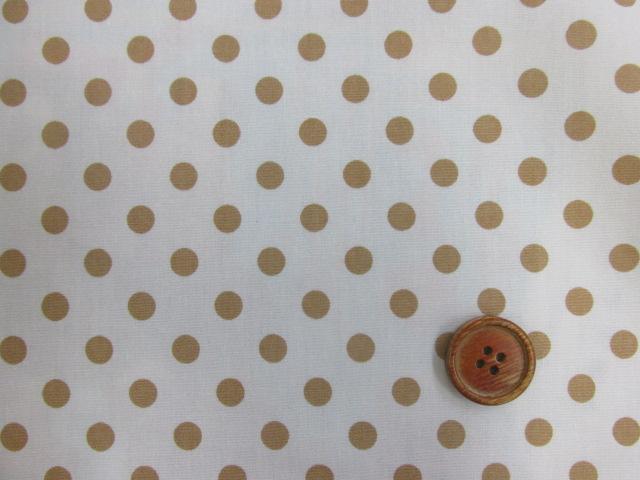 画像1: 白地に薄茶のドット柄(7mm)ブロード生地