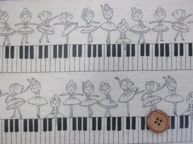 画像1: 綿麻キャンバス バレリーナ・鍵盤・ピアノ・ボーダー柄 (生成り) ラミネート つや消し