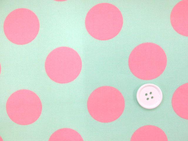 画像1: (3)32mmドット (ミント地に濃いピンクのドット) ブロード生地 はぎれ40cm