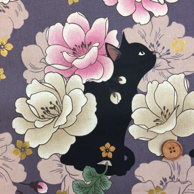 画像1: ■和柄 QUILT GATE 【 花と黒猫 】ねこ ラメ入り  シーチング生地 (ラベンダー ) はぎれ55cm