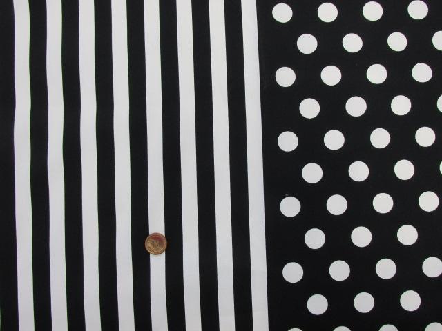画像1: ☆ドットとストライプ・白と黒のツートンカラー柄 (白)オックス生地 はぎれ35cm