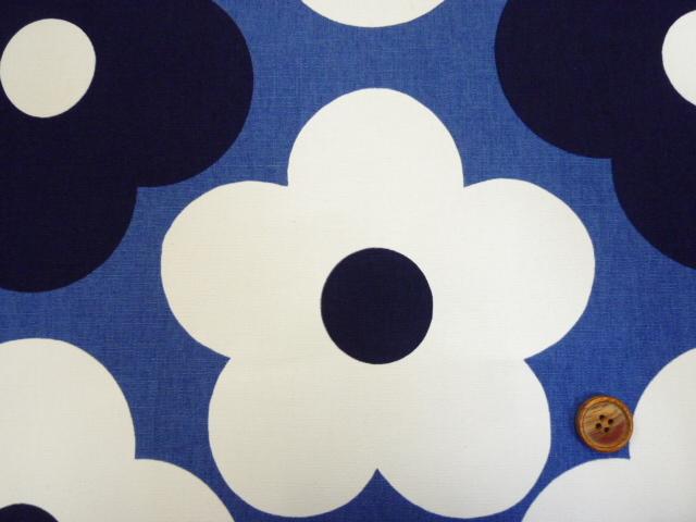 画像2: 綿麻キャンバス 北欧テイスト 大柄モダンフラワー柄