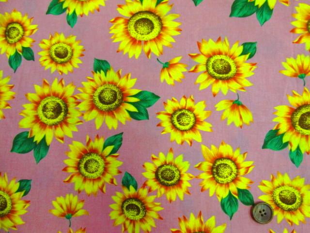 画像2: 🍀ひまわり・向日葵・花柄 ブロード生地 はぎれ1m40cm(ピンク)