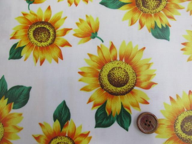 画像2: ひまわり・向日葵・花柄 ブロード生地 ラミネート つや消し