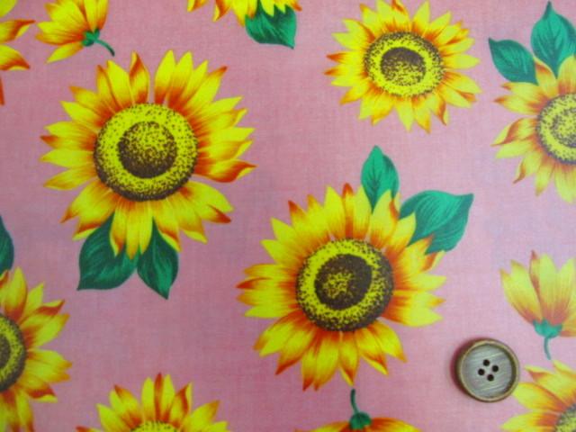 画像4: ひまわり・向日葵・花柄 ブロード生地 ラミネート つや消し