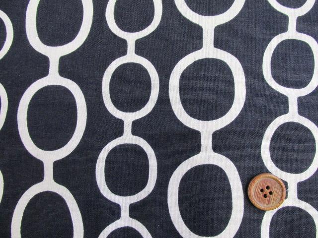 画像1: ◆◆綿麻キャンバス デザインサークル柄 はぎれ1m