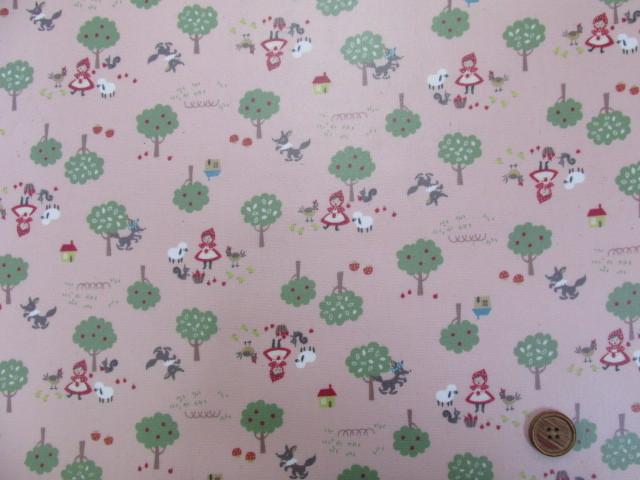 画像2: 森の赤ずきんちゃん柄 オックス生地 ラミネート はぎれ90cm(ピンク)