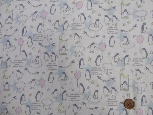 画像3: Wガーゼ生地 ペンギン 雲の上のおさんぽ柄