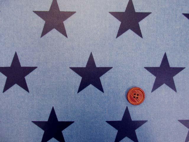画像1: 大スター・星柄(ブルー地に紺の星)オックス生地 ラミネート ツヤ消し