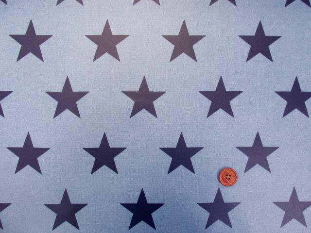 画像2: 大スター・星柄(ブルー地に紺の星)オックス生地 ラミネート ツヤ消し
