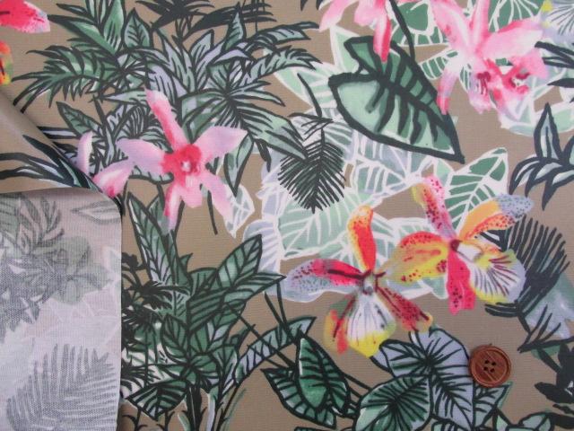 画像3: 現品限り 値下げしました!バウヒニア・ブラケアナ・オーキッド・花柄 オックス生地 ラミネートはぎれ80cm↑ (モカブラウンd)