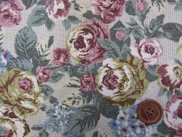 画像1: ゴブラン調 花柄 カツラギ生地 (生成り)