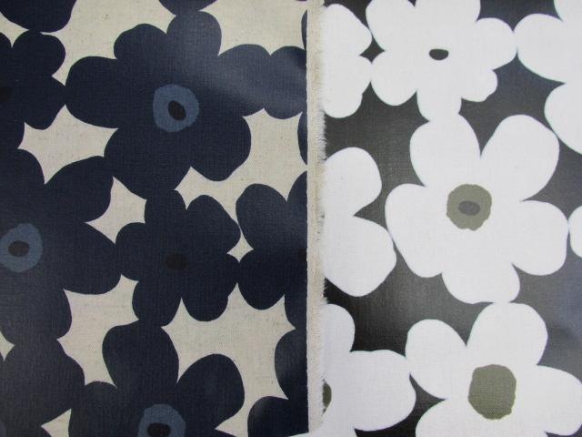 画像1: 新色 綿麻キャンバス 北欧テイスト モダンフラワー柄 ラミネート つや消し