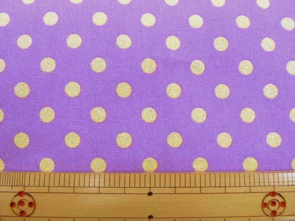 画像1: ☆ CB グリッター生地 黄色のドット柄 ラメ入り(紫地)  はぎれ1m
