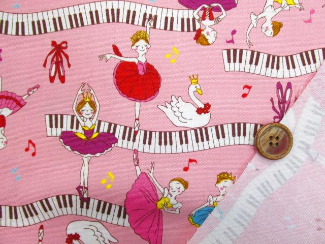 画像3: ■再販 バレリーナ・ピアノ・音符柄  オックス生地 はぎれ95cm(ピンク)
