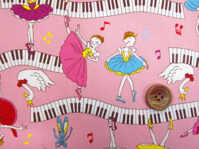 画像1: ■再販 バレリーナ・ピアノ・音符柄  オックス生地 はぎれ95cm(ピンク)