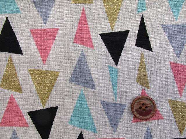 画像1: ☆訳あり 綿麻キャンバス トライアングル・三角柄 ゴールドラメ入りはぎれ40cm(生成り)