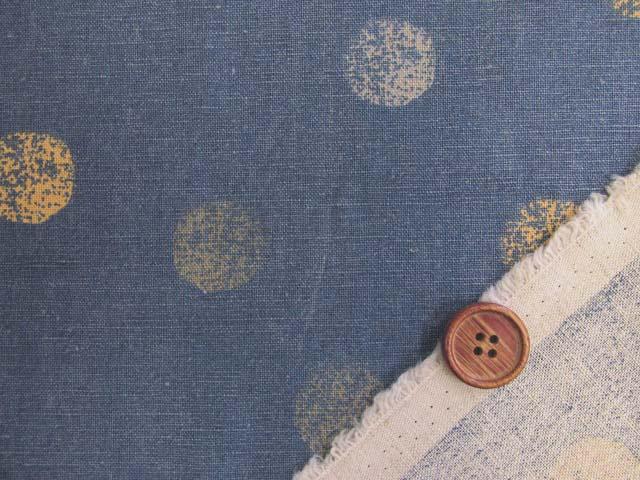 画像3: ☆【訳あり はぎれ】【和楽美】綿麻キャンバス  ランダムシャビードット (スモーキーブルー) はぎれ1m10cm